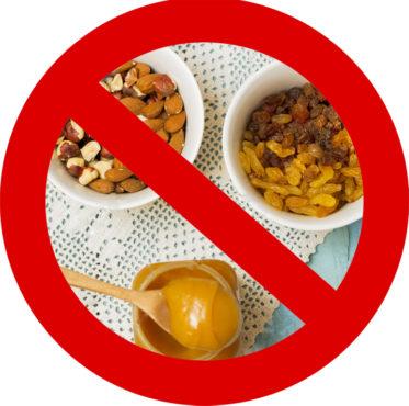 запрещенные продукты орехи, мед, изюм)