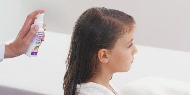 обработка волос спреем