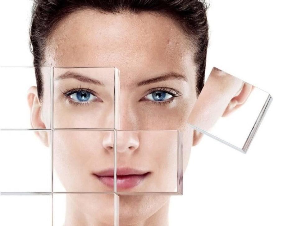 изображение здоровой и проблемной кожи лица
