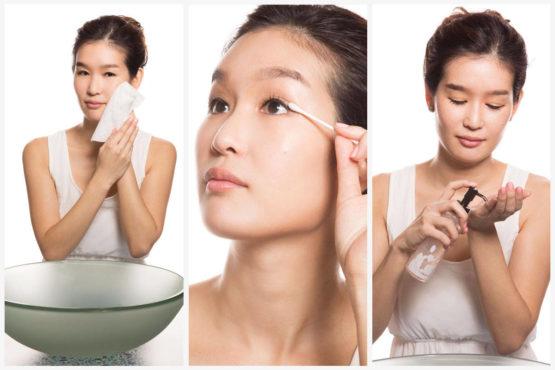 корейская девушка ухаживает за кожей лица