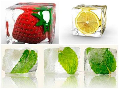 ледяные кубики с травами и фруктами