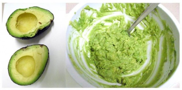 размолотое авокадо в посуде